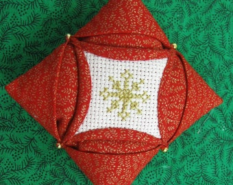 Cathedral Window Quilted and Cross Stiched Christmas Ornament 410