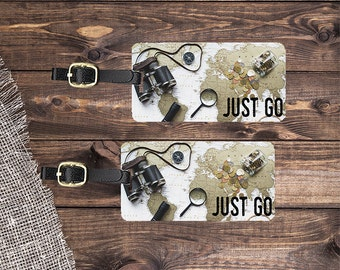 Luggage Tags Just Go Travel Map World Traveler with Personalized Backs - Metal Tags Single Tag or Set Available