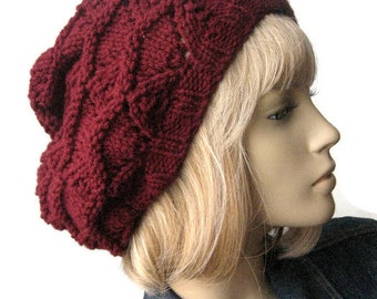 Hand Knit Hat, Burgundy Lace Slouchy Hat, The Beverly Hat, Vegan Knits, Womens Accessories, Burgundy Hat
