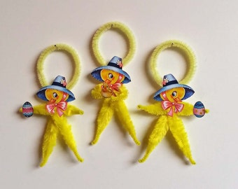 Chenille Easter Ornaments-3-Feather Tree Ornaments-Easter Duck-Vintage Easter Image