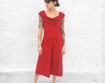 Vintage 1940s Red Wool Cowl Neck Day Dress XS/S