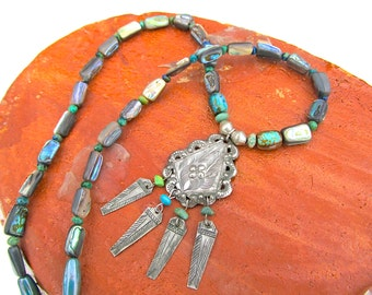 Frida Necklace in Abalone and Turquoise w Mexican Folk Art Pendant