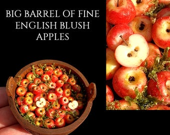 A wonderful Big Barrel of English Blush Apples - Artisan fully Handmade Miniature in 12th scale. From After Dark miniatures.