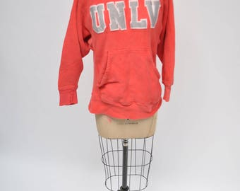 vintage hoodie UNLV hooded sweatshirt faded sand knit small 1980s retro 80s