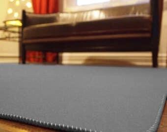 Dark Gray Designer Wool Felt Area Rug - 100% Wool, Multiple Sizes Available, Felt Rug