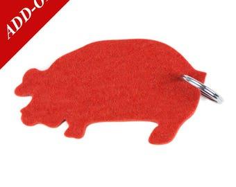 Pig Designer Wool Felt Keychain - Mango Orange, 100% Wool, Hog, Farm Animal, Add-On Item