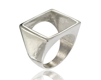 Geometric Ring, Square Ring, Open Square ring, Geometric Square Ring, Designer Jewelry, Gifts for Her, Geometric Jewelry, Free Shipping