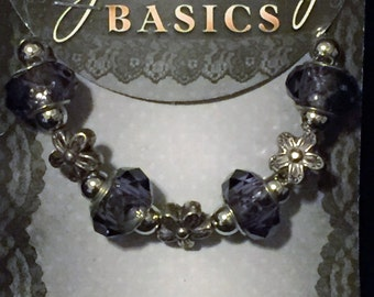 New set of 15 Glass & Silvertone Beads - Amethyst and Flowers Assortment - European-Style - Some Large Hole - FREE Shipping