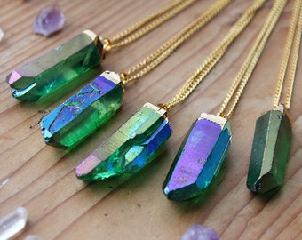 Emerald Green Angel Aura Quartz Gold Dipped Necklace - Rough Clear Raw Point Rainbow Pastel Crystal Pink Gold Plated Chain, Natural Layering