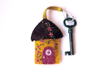 """Wool Felt House Key Chain in gold, brown and berry with coral and green floral Embroidered Floral and Beaded Embellishments, 2.75x2"""""""