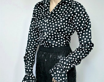 Polka Dot Blouse Vintage Long Sleeve Ruffle Black and White Women's Shirt Size 37 Size Small