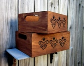Storage Crate, Set of Two, Stained Wood, Storage Box, Black Design, Crate with Handles, Rustic, Home Decor