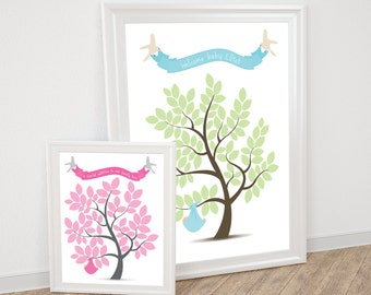 baby shower guest book tree - printable file - signature sign in poster, personalised nursery art keepsake, christening new baby boy or girl