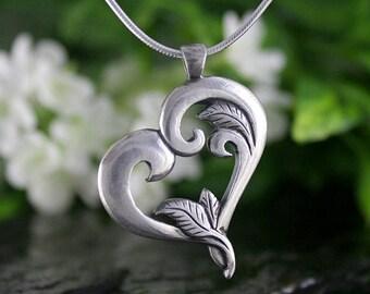 Heart Pendant, Botanical Heart, Heart Jewellery, Handmade, Artisan, Antique