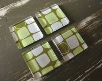 Retro Green and White Shapes - square glass magnets - set of 4