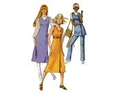 1970s Wrap Dress Pattern Open Keyhole Neckline Sleeveless Tunic and Pants Asymmetric Simplicity 9282 Bust 34 Vintage Sewing Pattern
