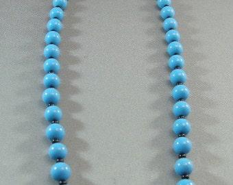 "Vintage Sky Blue Beaded 24""  Necklace, Mid Century Necklace, Blue Bead Necklaces, Vintage Beads, **USA ONLY**"