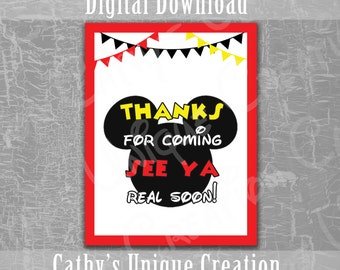 Thanks for Coming, See Ya Real Soon, Mickey Mouse Clubhouse, Disney, Birthday Party, Ears, Theme, Printable, Download, DIY, Sign, Letter
