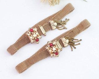 Antique 10k Gold Victorian Mesh Bracelet Set | Victorian 10k Gold Bracelet | Antique Victorian Wedding Bracelet | Antique Mesh Bracelet
