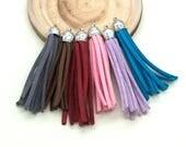 Suede   Tassels, 6pcs, 2 1/2 Inch, Mixed Colors, Long Tassels