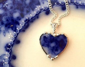 Blue roses - vintage china heart pendant - broken china necklace - Antique 1880s English Flow Blue broken china jewelry