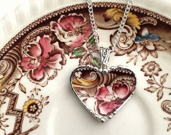 Broken china jewelry - heart pendant necklace - antique aesthetic brown transferware - pink rose - beautiful