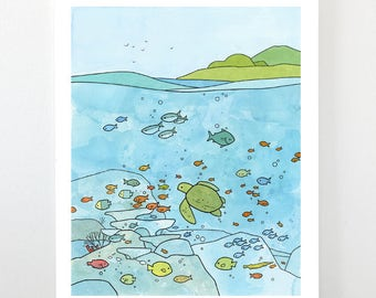 Sea Turtle and Coral Reef, Ocean nursery - Limited edition art print