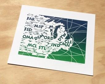 Airport Code Map, Flight Attendant Gift, Linocut, Flight Decor, Aviation Art, Midwest USA, Blue and Green