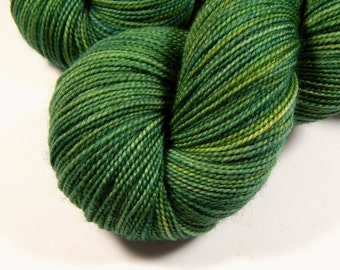 Hand Dyed Sock Yarn - Sock Weight Superwash Merino Wool Yarn - Laurel - Knitting Yarn, Fingering Yarn, Gift for Her, Green Tonal