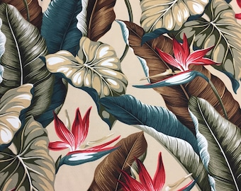 """90s Trendtex Fabrics Ltd. """"Bird of Paradise""""//Lush Life Tropical Barkcloth//Red Flower//Philodendron, Brwn, Teal, Olive Leaves on Beige Grnd"""