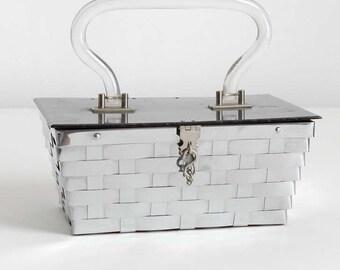 1950s vintage Dorset Rex metal basket weave + lucite purse * AC098