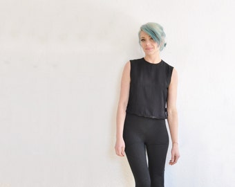 mod black boxy tank top . wide tie sides . mid century beatnik blouse .small .sale