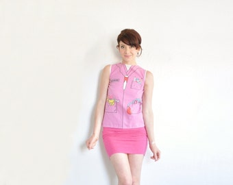 pink trompe l'oeil nurse shirt . medical costume blouse .extra small.xs .sale