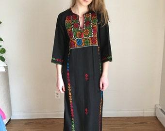 Boho Dress, Folk Dress, Embroidered Peasant Dress, Black Hippie Dress, Black Boho Dress, Maxi, Caftan, Kaftan Nomad Dress Bohemian Bedouin
