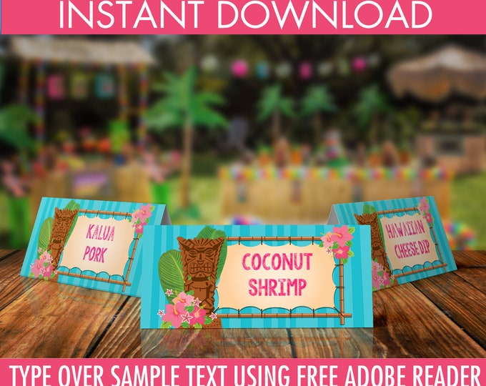 Luau Food Labels - Buffet Tags - Name Placecards, Hawaiian Party, Luau Birthday, Luau Shower- EDITABLE Text - INSTANT Download Printable PDF