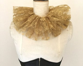 Gold lace neck ruff - Circus costume - Burlesque - Masquerade costume.