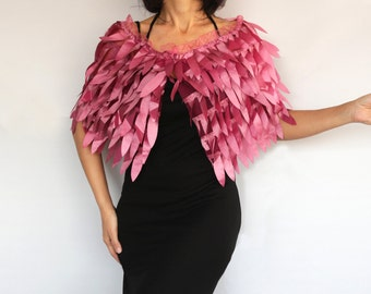 Pink Faux Feather  Evening Cape, Shawl Bolero Shrug Dress Cover-up, Shoulder Wrap Mother of the Bride Wedding Fashion, Special Occasion