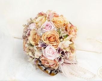 Pink flowers, floral bouquet, rustic flowers, wedding flowers, fern, woodland bouquet, feather bouquet, silk flowers, statement bouquet