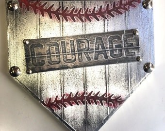 COURAGE Home Plate custom team name plaque trophy award wall art champion sign gift metal personalized baseball softball