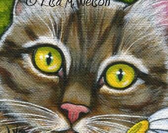 Tabby Cat with Daisy Original Fine Art Acrylic Painting on Canvas