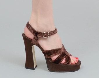 Vintage 90s Platforms Brown Heels, Crushed Velvet Sandals, 1990s Sandals, Size US 5.5 / EU 35.5
