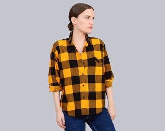 80s Buffalo Plaid Shirt Yellow + Black Flannel Shirt - Vintage Lumberjack - Grunge Boyfriend Shirt Long Sleeve Checkered Top XS S