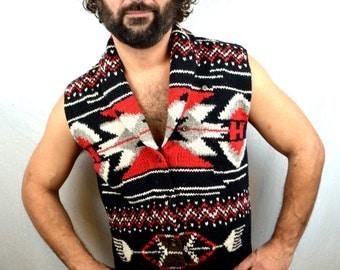Vintage Southwest Ralph Lauren Wool Knit Sweater Vest