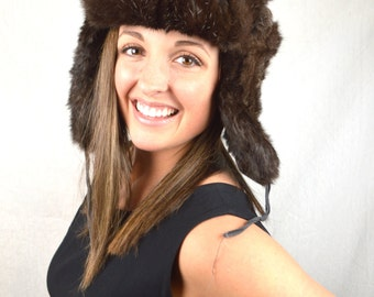 Vintage Brown Rabbit Fur Winter Bomber Trapper Hat with Flaps