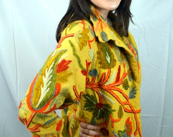 Vintage 70s 80s Embroidered WOW Floral Robe Jacket Coat