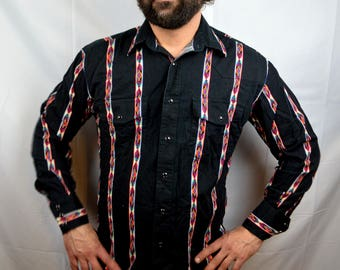 Vintage Geometric Striped Southwest 80s 90s Wrangler Shirt