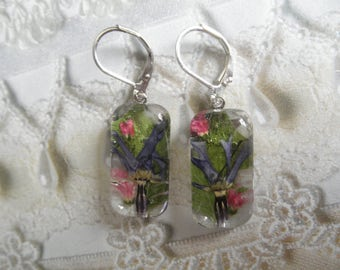 Spiritual Blue Shooting Star Blossoms,Pink Veronica,Ferns Pressed Flower Glass Rectangle Leverback Earrings-Nature's Art-Symbol Spirituality