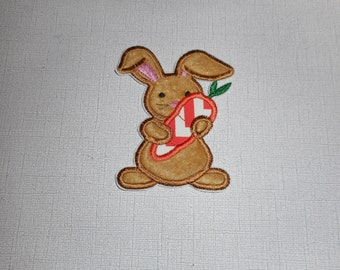 Easter bunny with a carrot Ready to Ship Free Shipping   Machine Embroidery  Iron On Applique