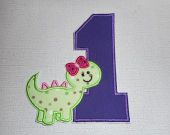 Free shipping Ready to Ship Number 1 Dinosaur girl Machine Embroidery iron on applique