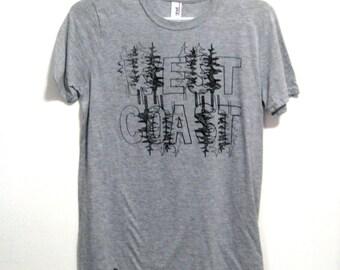 Mens WEST COAST Tee. Grey Tshirt. Tshirts Under 30. Island Graphic. West Coast Best Coast. Pnw Shirt. Gifts for Him. California Oregon